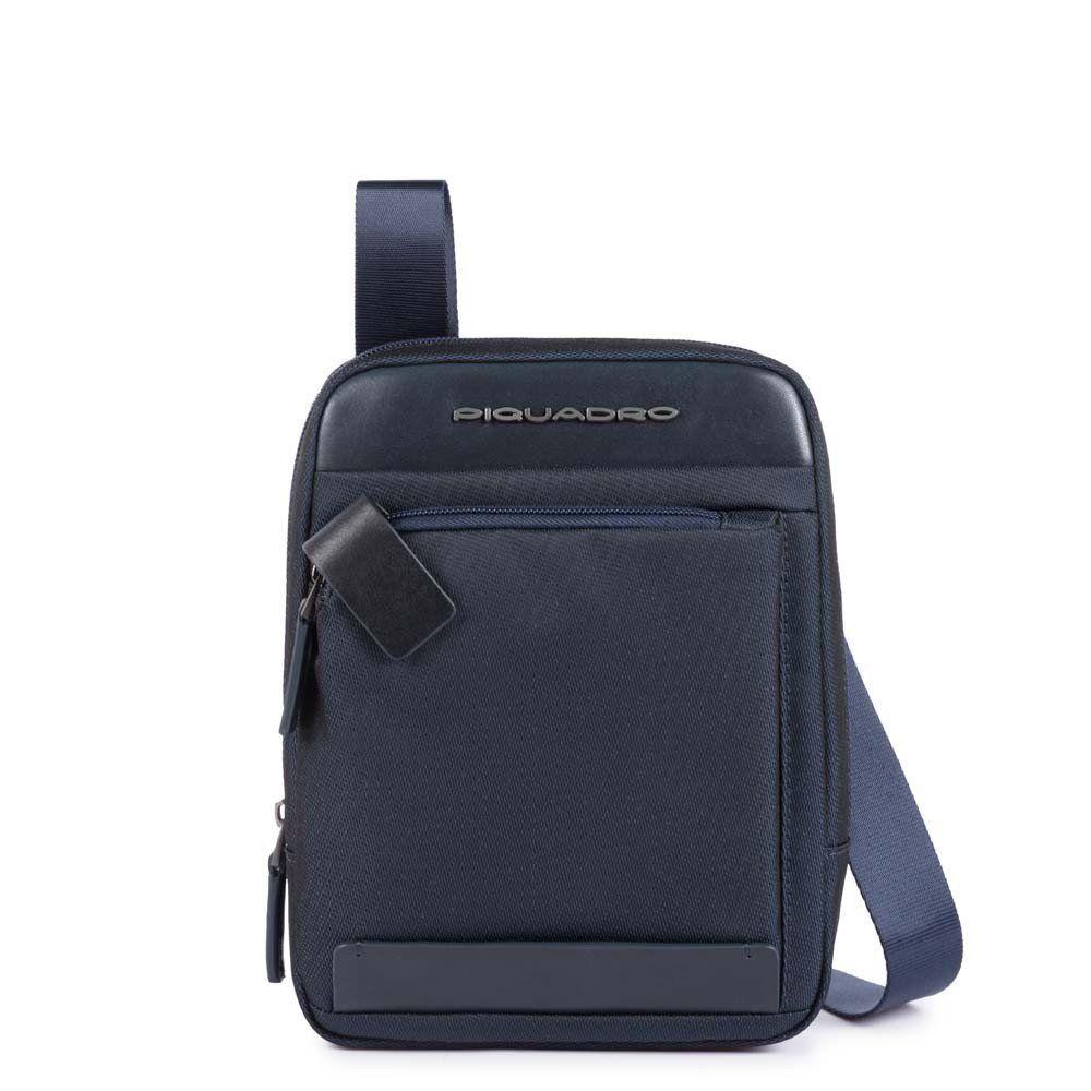 Geanta crossbody Piquadro port iPad mini din tesut si piele naturala CA3084S100/BLU