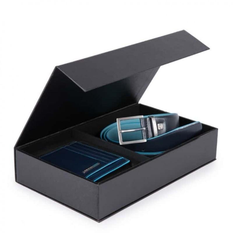 Set cadou PIQUADRO, curea din piele si portcard cu RFID, ambele din piele naturala CUBOX13B2R/BLU
