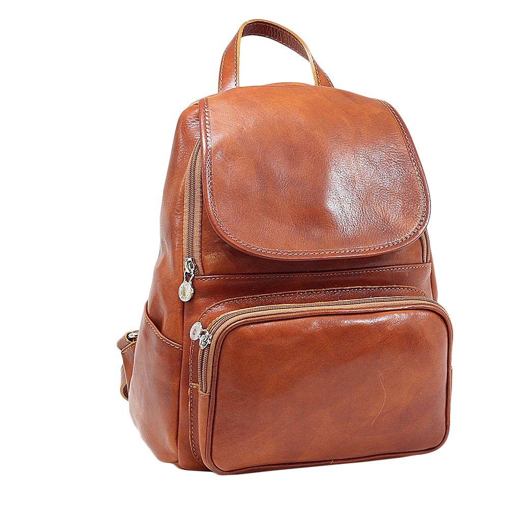 Rucsac casual din piele naturala miere 5534D