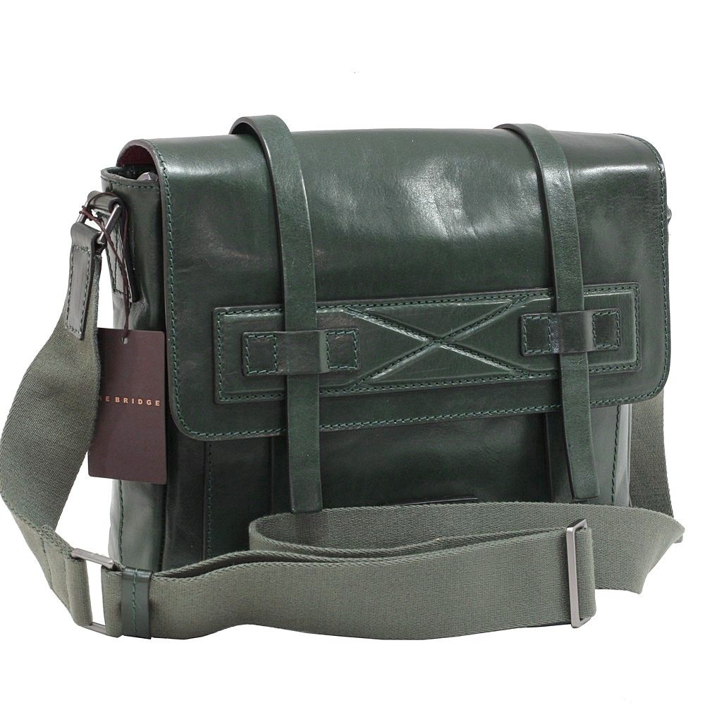 Geanta messenger THE BRIDGE din piele naturala verde TB89