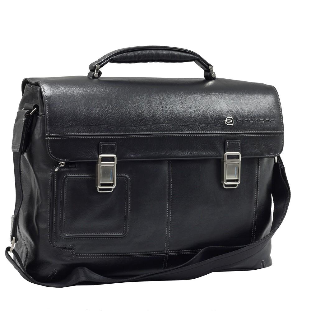 """Servieta barbati neagra PIQUADRO din piele, cu compartiment pentru laptop de 15'' si iPad®10,5''/9,7"""" CA1044VI/N"""