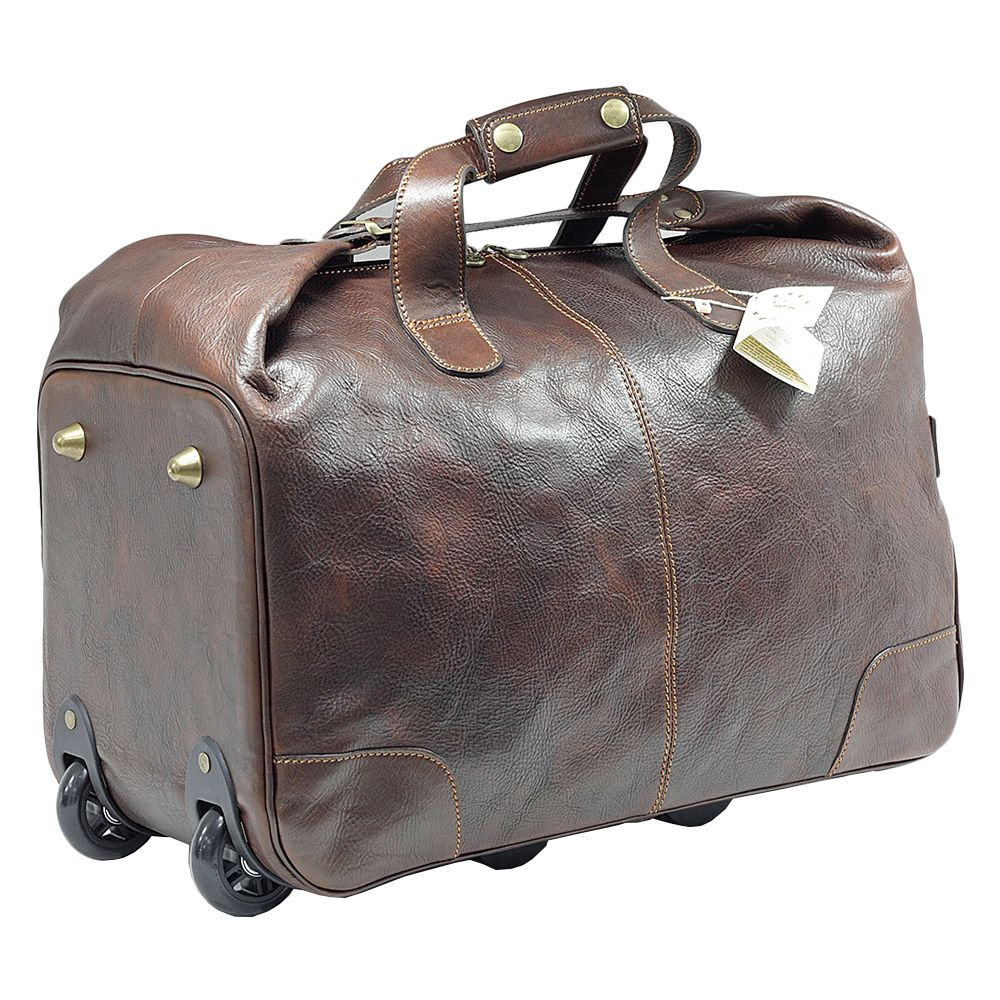 Geanta de voiaj cu roti, din piele naturala vachetta ( CADOU o borseta din piele naturala 212 ) 4086B