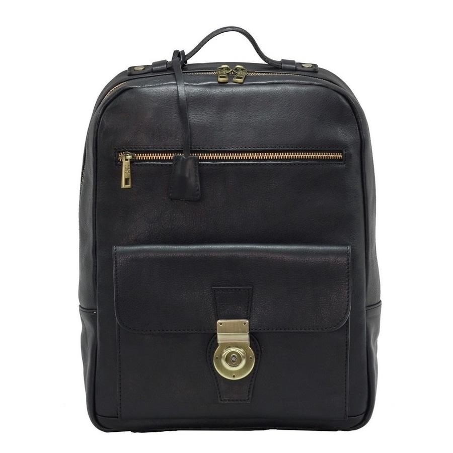 Rucsac din piele naturala vachetta, cu suport de laptop / tableta, negru 8998